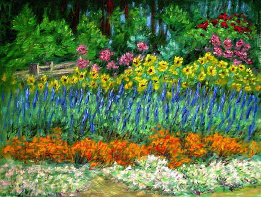"""Northern California Flower Garden"" Flower Garden oil painting and prints by Pointillistic/Impressionist painter Paul Berenson"