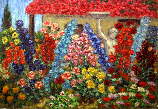 """Carriage House Garden"" Flower Garden oil painting and prints by Pointillistic/Impressionist painter Paul Berenson"