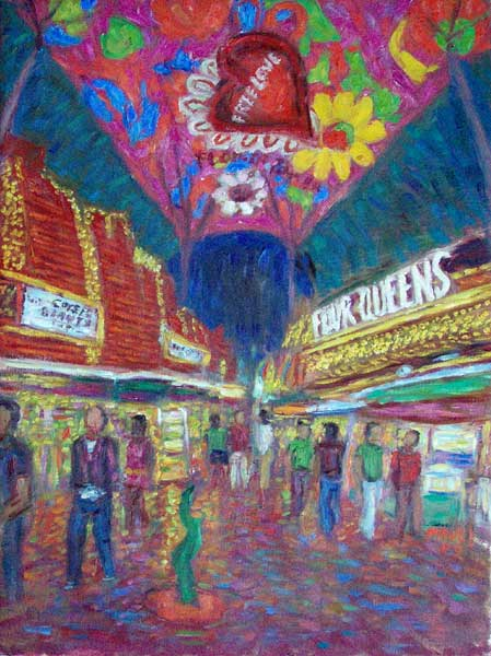 """Free Love, Vegas"" Las Vegas oil painting and prints by Pointillistic/Impressionist painter Paul Berenson"
