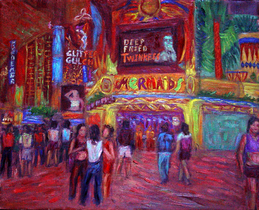 """Fremont Street"" Las Vegas oil painting and prints by Pointillistic/Impressionist painter Paul Berenson"