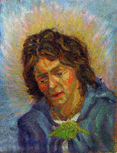 """Frodo Baggins"" Lord of the Rings oil painting and prints by Pointillistic/Impressionist painter Paul Berenson"