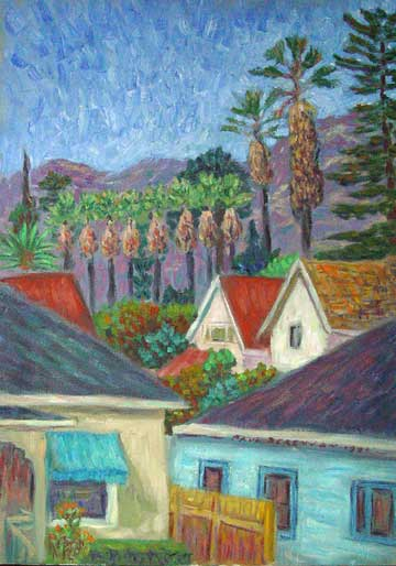 """Our 2nd Floor View"" Santa Barbara, California oil painting and prints by Pointillistic/Impressionist painter Paul Berenson"