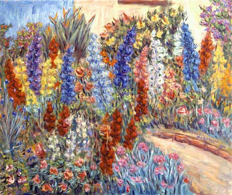 """Garden Path"" Flower Garden oil painting and prints by Pointillistic/Impressionist painter Paul Berenson"
