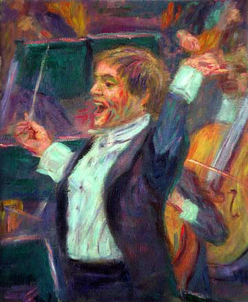 """Valery Gergiev"" Valery Gergiev oil painting and prints by Pointillistic/Impressionist painter Paul Berenson"