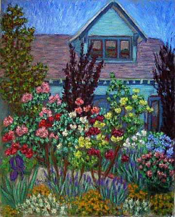 """House With Flower Garden"" Flower Garden oil painting and prints by Pointillistic/Impressionist painter Paul Berenson"