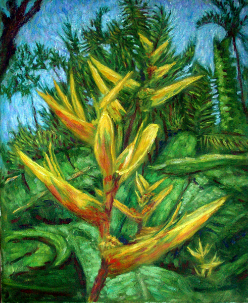 """ Golden Throated Halyconia"" Hawaiian Flower oil painting and prints by Pointillistic/Impressionist painter Paul Berenson"