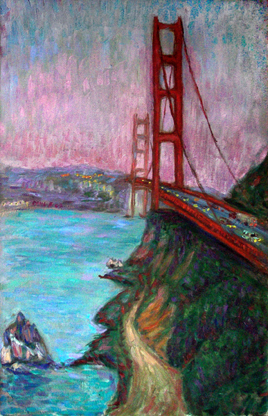 """Golden Gate Bridge"" San Francisco, California oil painting and prints by Pointillistic/Impressionist painter Paul Berenson"