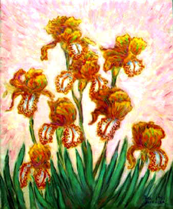 """Golden Irises"" Iris Flowers oil painting and prints by Pointillistic/Impressionist painter Paul Berenson"