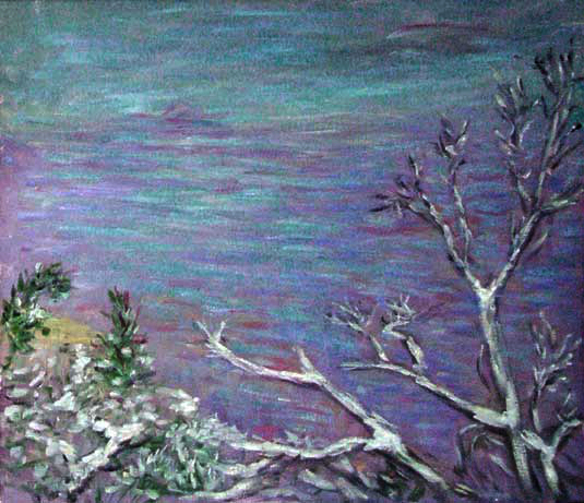 """Grand Canyon in the Snow"" National Park oil painting and prints by Pointillistic/Impressionist painter Paul Berenson"