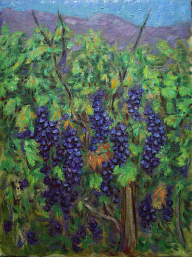 """Grapes on the Vine"" Napa Valley oil painting and prints by Pointillistic/Impressionist painter Paul Berenson"