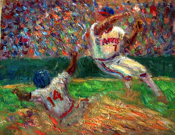 """Double Play"" Angels Baseball oil painting and prints by Pointillistic/Impressionist painter Paul Berenson"