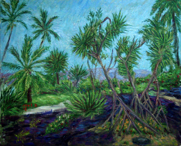 """Hala Trees At Honoanu"" Hawaii oil painting and prints by Pointillistic/Impressionist painter Paul Berenson"