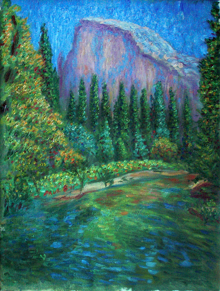 """Half Dome"" (Yosemite National Park) Yosemite oil painting and prints by Pointillistic/Impressionist painter Paul Berenson"