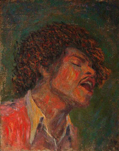 """Jimi Hendrix"" Rock Music Portrait oil painting and prints by Pointillistic/Impressionist painter Paul Berenson"