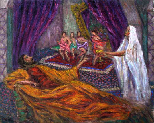 """King Herod"" Classical Figure oil painting and prints by Pointillistic/Impressionist painter Paul Berenson"