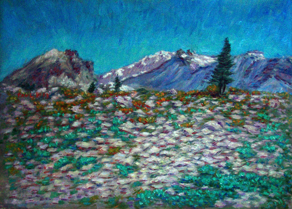"""High Atop Mt. Shasta"" California oil painting and prints by Pointillistic/Impressionist painter Paul Berenson"
