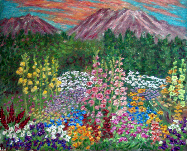 """Mt. Shasta Sunset With Hollyhock Garden"" Flower Garden oil painting and prints by Pointillistic/Impressionist painter Paul Berenson"