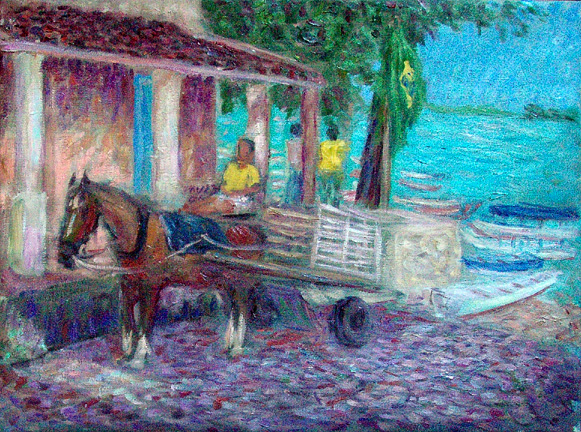 """Piacabucu, Alagoas"" Brazil oil painting and prints by Pointillistic/Impressionist painter Paul Berenson"