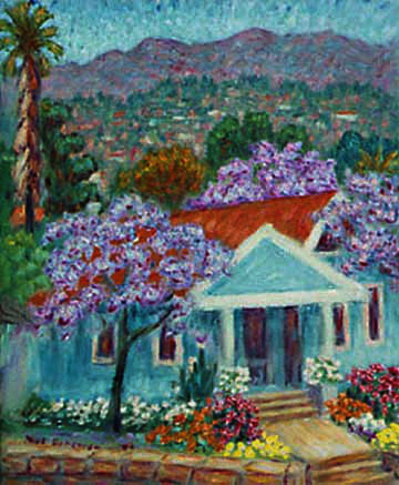 """House with Jacarandas"" Santa Barbara oil painting and prints by Pointillistic/Impressionist painter Paul Berenson"