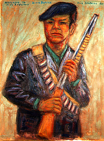 """Huey Newton"" Famous Portrait oil painting and prints by Pointillistic/Impressionist painter Paul Berenson"