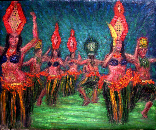 """Hula"" (Old Lahaina Luau) Hawaii Hula oil painting and prints by Pointillistic/Impressionist painter Paul Berenson"