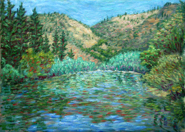 """In The Klamath River"" Waterscape oil painting and prints by Pointillistic/Impressionist painter Paul Berenson"