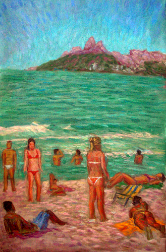 """Ipanema Girls"" Brazil oil painting and prints by Pointillistic/Impressionist painter Paul Berenson"
