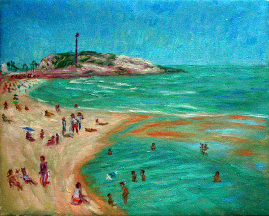 """Ipanema Winter"" Brazil oil painting and prints by Pointillistic/Impressionist painter Paul Berenson"
