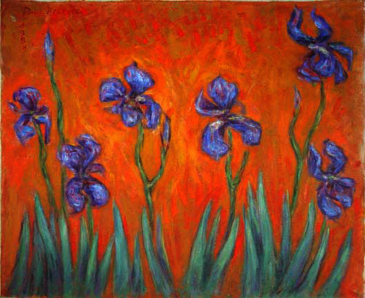 """Dancing Iris on Orange"" Iris Flower oil painting and prints by Pointillistic/Impressionist painter Paul Berenson"
