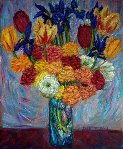 """Dutch Iris, Tulips, and Ranunculas"" Flower Bouquets oil painting and prints by Pointillistic/Impressionist painter Paul Berenson"