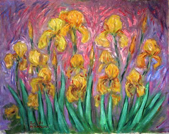 """Yellow Irises"" Iris Flowers oil painting and prints by Pointillistic/Impressionist painter Paul Berenson"