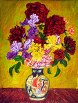 """Irises & Roses in a Chinese Vase"""