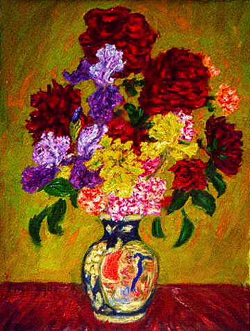 """Bouquet of Irises and Roses"" Flower oil painting and prints by Pointillistic/Impressionist painter Paul Berenson"