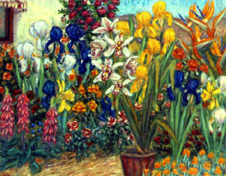 """Iris and Cymbidium Garden"" Flower Garden oil painting and prints by Pointillistic/Impressionist painter Paul Berenson"
