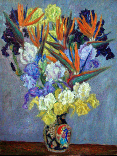 "Irises and Birds of Paradise"" Flower oil painting and prints by Pointillistic/Impressionist painter Paul Berenson"