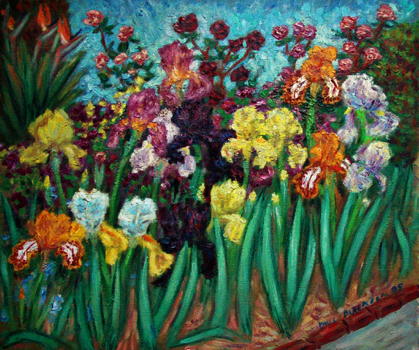 """Iris Garden"" Flower Garden painting and prints by Pointillistic/Impressionist painter Paul Berenson"