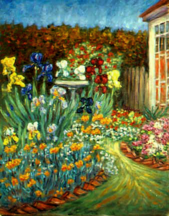 """Iris Path"" Flower Garden oil painting and prints by Pointillistic/Impressionist painter Paul Berenson"