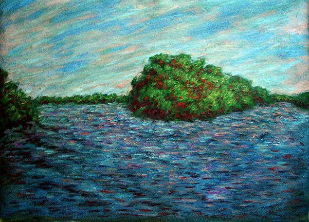 """Amazon Island"" Brazil Amazon oil painting and prints by Pointillistic/Impressionist painter Paul Berenson"