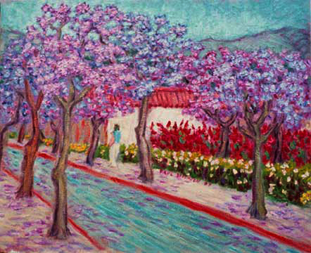 """Jacaranda Trees"" Santa Barbara oil painting and prints by Pointillistic/Impressionist painter Paul Berenson"