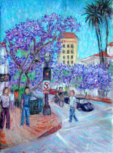 """Jacarandas by the Granada"" Santa Barbara oil painting and prints by Pointillistic/Impressionist painter Paul Berenson"