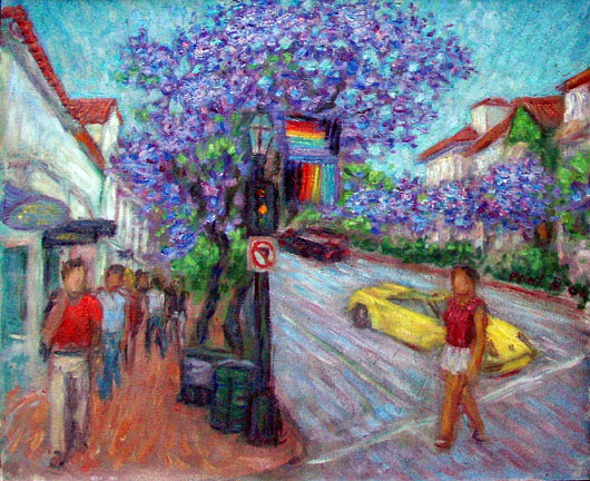 """Jacarandas on State Street"" Santa Barbara oil painting and prints by Pointillistic/Impressionist painter Paul Berenson"