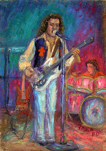 """Jack Bruce"" Rock Music oil painting and prints by Pointillistic/Impressionist painter Paul Berenson"