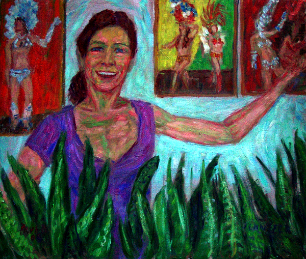 """Sambista Jennifer"" Samba oil painting and prints by Pointillistic/Impressionist painter Paul Berenson"