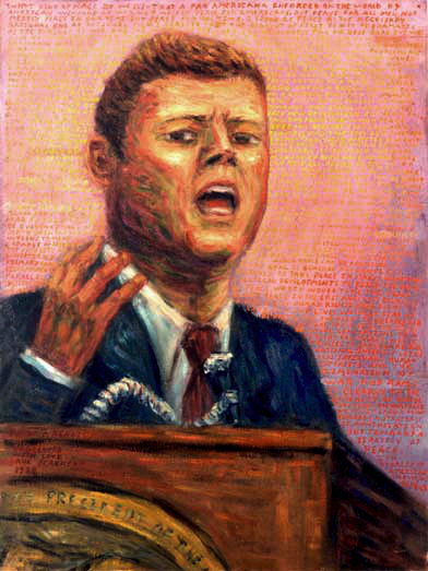 """President John F. Kennedy at American University"" John F. Kennedy at American University oil painting and prints by Pointillistic/Impressionist painter Paul Berenson"