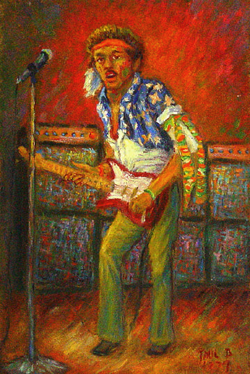 """Jimi"" Rock & Roll oil painting and prints by Pointillistic/Impressionist painter Paul Berenson"