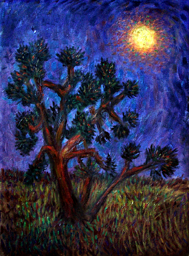 """Joshua Tree Under A Full Moon"" National Park oil painting and prints by Pointillistic/Impressionist painter Paul Berenson"