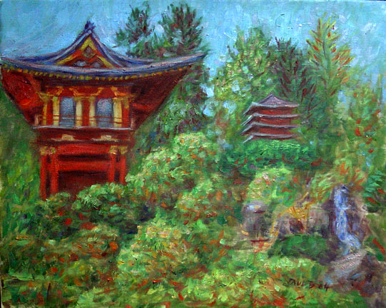 """The Pagoda"" San Francisco oil painting and prints by Pointillistic/Impressionist painter Paul Berenson"