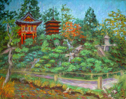"""Japanese Tea Garden"" Golden Gate Park oil painting and prints by Pointillistic/Impressionist painter Paul Berenson"