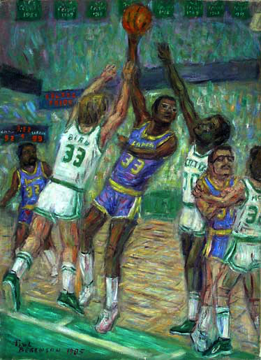 """Kareem Abdul Jabbar"" LA Lakers oil painting and prints by Pointillistic/Impressionist painter Paul Berenson"