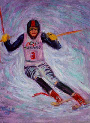 """Katja Seizinger"" Olympic Skiing oil painting and prints by Pointillistic/Impressionist painter Paul Berenson"